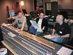 Engineer John Rodd, producer Craig Stuart Garfinkle and legendary drummer Steve Smith (Journey, Vital Information, etc) in session at Capitol Studio B in Hollywood.