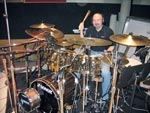 Legendary drummer Steve Smith (Journey, Vital Information, etc) in session at Capitol Studio B in Hollywood. Note the two snare drums!
