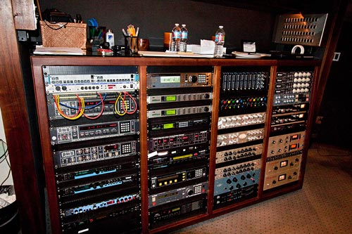 Some of the outboard gear at Westlake studio C for the The Lord Of The Rings -  War In The North trailer mixing session.