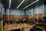 The orchestra from the floor at Abbey Road