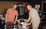 Composer Andrew Kaiser and Scoring Mixer John Rodd in the control room at  Capitol Studios in Hollywood for the orchestral recording of TAO OF PONG.