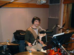 <i>Bettie Page: Dark Angel</i> recording session - Dave Lofti at the drumkit